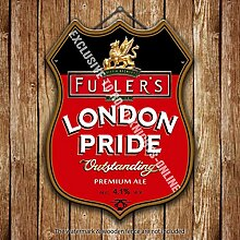 Fullers London Stolz Bier Werbe Bar, Alte Pub Drink Pumpe Abzeichen Brewery Fass Fass Fassbier Real Ale Pint Alkohol Hops Form Metall/Stahl Wandschild - 27 x 20 cm