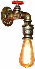 Fuloon Vintage Retro Wandlampe, Wasserrohr Metall
