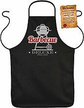 Fun Grillschürze: Barbecue Deluxe Steak & Beer - schwarze Grill- und Kochschürze mit gratis Urkunde