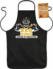 Fun Grillschürze: BBQ King smoked to perfection - schwarze Grill- und Kochschürze mit gratis Urkunde