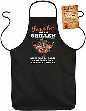 Fun Grillschürze: Feuer frei Bin am Grillen Alles was du sagst kann gegen dich verwendet werden - schwarze Grill- und Kochschürze mit gratis Urkunde