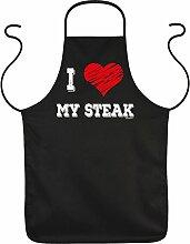 Fun Grillschürze: I love my Steak - schwarze