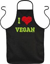 Fun Grillschürze: I Love Vegan - schwarze Grill-