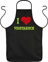 Fun Grillschürze: I love Vegetarisch - schwarze
