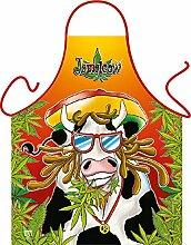 Fun Grillschürze: Jamaicow - bedruckte Grill- und Kochschürze mit gratis Urkunde