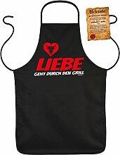 Fun Grillschürze: Liebe geht durch den Grill -