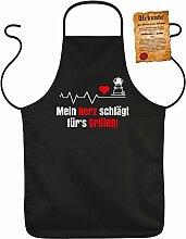 Fun Grillschürze: Mein Herz schlägt fürs Grillen - schwarze Grill- und Kochschürze mit gratis Urkunde