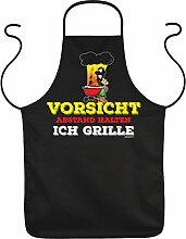Fun Grillschürze: Vorsicht Abstand halten ich grille - schwarze Grill- und Kochschürze