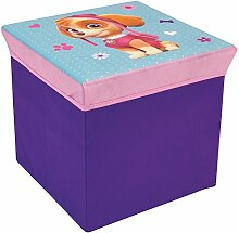 Fun House 712726Hocker Aufbewahrungsbox für Kinder Polyester Grün 35x 35x 1cm