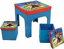 Fun House pat' Patrouille Tisch mit 2Barhocker Faltbare Aufbewahrungsbox für Kinder, MDF/Vlies, 52x 52x 15cm