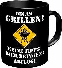 Fun Kaffee Tasse - Bin am Grillen! Keine Tipps! Bier bringen! Abflug! - Grill Chef - einzeln im Geschenk Karton - zum Geburtstag