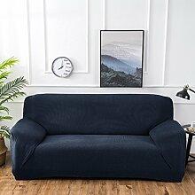 Fun life 1 stück Polyester Spandex Jacquard Sofa abdeckungen Stricken Stoff Stretch Sofa Slipcovers Anti-Rutsch-Möbel Cover Protector-Navy Blau 4 Sitzer