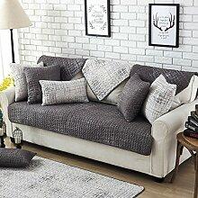 Fun life Baumwoll-Sofa Handtuch abdeckungen, Vier Jahreszeiten Universal Anti-Rutsch Multi-Size Sofa Gesteppte Sofa Slipcover Reversible Maschine Waschbar-Dunkelgrau 90x90cm(35x35inch)