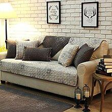 Fun life Baumwoll-Sofa Handtuch abdeckungen, Vier Jahreszeiten Universal Anti-Rutsch Multi-Size Sofa Gesteppte Sofa Slipcover Reversible Maschine Waschbar-Hellgrau 90x120cm(35x47inch)