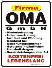 Fun-Schild ' Oma GmbH !!! '
