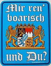Fun-Schild - Mir ren´ boarisch, 17 x 22 cm