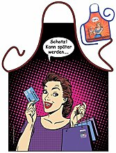 Fun/Spaß-Themen-Schürze/Grill/Kochschürze lustiges Motiv: Schatz! Kann später werden ? - Geschenk-Set inkl. Mini-Schürze