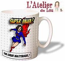 Fun Super mum keramisch Kaffeebecher - Originelle Geschenkidee - Spülmaschinefes