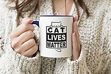 Fun Trendy Cat Lives Matter Blauer Griff-Becher