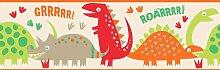 Fun4Walls Bordüre selbstklebend, mit Dinosaurier-Motiv, Ro