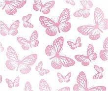 Fun4Walls Tapete mit Schmetterlingen, weiß/pink
