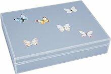 fundashop–Box von Zwillingen, Dekoration Schmetterlinge, Holz 19x15x4 cm grau
