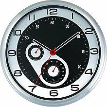 Funk-Wanduhr, Likeluk 12 Zoll(30cm) Modern Lautlos Quartz Wanduhr Schleichende Sekunde ohne Ticken mit Thermometer und Hygrometer