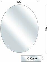 Funkenschutzplatte, Glasbodenplatte mit C-Kante, Elipse, 6 mm stark, 120 x 150 cm