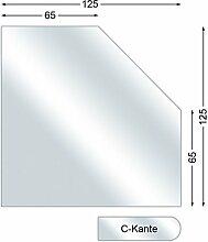 Funkenschutzplatte, Glasbodenplatte mit C-Kante, Fünfeck, 6 mm stark, 125 x 125 cm