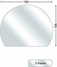 Funkenschutzplatte, Glasbodenplatte mit C-Kante, Kreisabschnitt, 6 mm stark, 105 x 120 cm