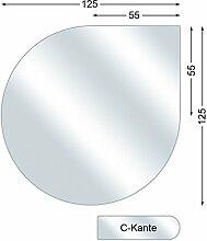 Funkenschutzplatte, Glasbodenplatte mit C-Kante, Tropfen, 6 mm stark, 125 x 125 cm