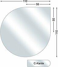 Funkenschutzplatte, Glasbodenplatte mit C-Kante, Tropfen, 6 mm stark, 110 x 110 cm