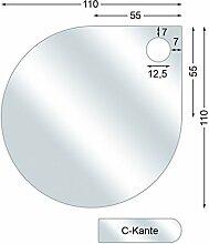 Funkenschutzplatte, Glasbodenplatte mit C-Kante,