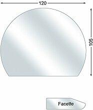Funkenschutzplatte, Glasbodenplatte mit Facette, Kreisabschnitt, 6 mm stark, 105 x 120 cm