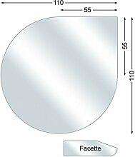 Funkenschutzplatte, Glasbodenplatte mit Facette, Tropfen, 6 mm stark, 110 x 110 cm