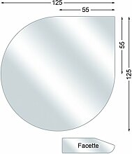 Funkenschutzplatte, Glasbodenplatte mit Facette, Tropfen, 6 mm stark, 125 x 125 cm