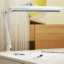 Funktionelle Arbeitsplatzleuchte mit Klemmfuß - Stahl - Weiss + LED Taschenlampe aus Metall