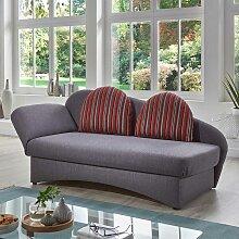 Funktions Sofa in Grau und Rot gestreift Made in
