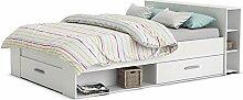 Funktionsbett 140*200 cm weiß inkl. 3 Bettschubkästen + Regal (Kopfteil) Kinderbett Jugendbett Jugendliege Bettliege Bett Jugendzimmer