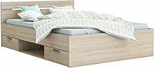 Funktionsbett 160*200 cm sonoma eiche grau inkl. 2 Bettschubkästen Kinderbett Jugendbett Jugendliege Bettliege Bettgestell Bett Jugendzimmer