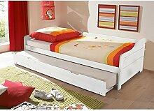 Funktionsbett 90*200 cm Kiefer massiv weiß Gästebett Gästeliege Kinderbett Jugendliege Tandembett Massivholzbett Kinderzimmer Be