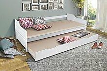 Funktionsbett 90x200 Massiv Holz Weiss Ausziehbar