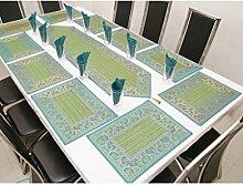 funktionz türkis, 21Stück Tischläufer, Tisch-Sets und Serviette Set in ethno Seide handgefertigt Traditionelles Design