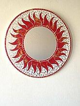 funky global Spiegel rot Sonne Mosaik. Fair Trade