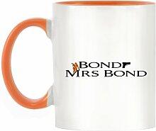 Funny Bond, Frau Bond Design bicolor Becher mit