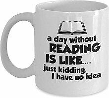 Funny Book Worm Mug - Ein Tag ohne Kaffee &