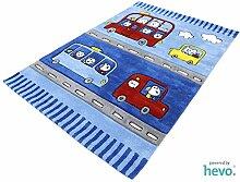 Funny Bus blau HEVO® Handtuft Teppich | Kinderteppich | Spielteppich 140x200 cm Öko Tex 100