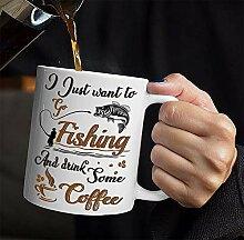 Funny Fishing Coffee Mug Tea Cup Gift - I Just