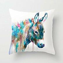 Funny Großhandel von Esel Funny Canvas Baumwolle Leinen dekorativer Überwurf-Kissenbezug Kissen Bezug 45,7x 45,7cm Kissen.