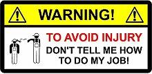 Funny Toolbox Aufkleber Warnung Verletzungen zu